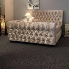 Chesterfield Sleigh Bed Hiq Special Designer Chesterfield Sleigh Bed Frame Crushed