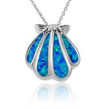 gem key necklace images Sunrise sea shell necklace with blue opal stone siesta key gems jpg