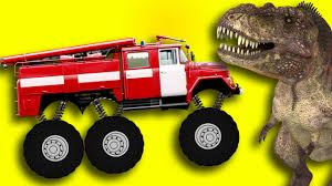 kids monster truck video monster fire truck crazy dinosaur truck for children сartoons