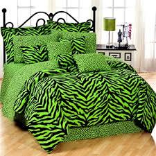 Zebra Bed Set Lime Zebra Print College Bedding Set