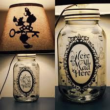 alice in wonderland inspired mason jar character lamp