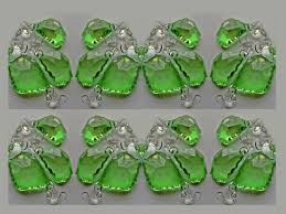 24 emerald green chandelier drops glass crystals droplets chic