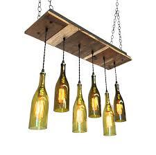 reclaimed wood wine bottle chandelier with edison bulbs