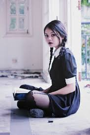 grunge halloween costume find out where to get the dress wednesday addams dark lipstick
