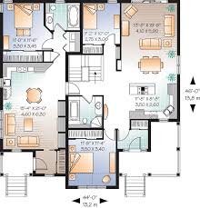 family floor plans floor plan of bungalow multi family plan 64882 home decor