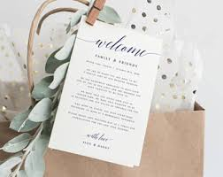 welcome wedding bags wedding welcome card etsy