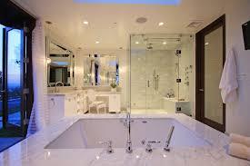beaded beveled mirror bathroom contemporary with monochromatic