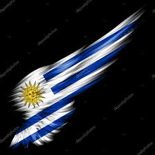 Flag Uruguay Flag Of Uruguay On Abstract Wing With Black Background U2014 Stock