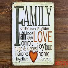 retro family tin sign metal plaque vintage home wall decor warmly