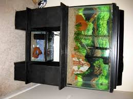 modern natural design of the wooden fish tank table that has grey