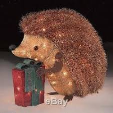 lighted outdoor christmas decoration hedgehog 24 indoor holiday