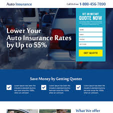 design online quotes auto insurance responsive landing page design template for your