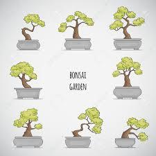 sketched bonsai tree set royalty free cliparts vectors and stock