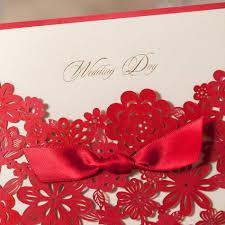 red elegant handmade laser cut chinese wedding invitation card