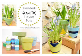 painted geometric diy flower pots there for the making earth day