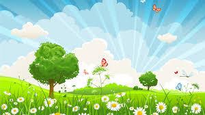 fields spring trees sky butterflies summer rays wild hills sun