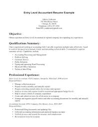 sample entry level accounting resume no experience accounting