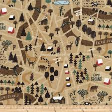 World Map Fabric by Timeless Treasures Camping Forest Map Tan Discount Designer