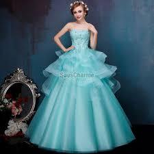 robe de mariã e bustier dentelle robe de bal princesse robe mariée colorée à bustier en tulle bleu