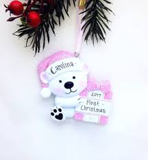 little pink bear personalized christmas ornament first christmas