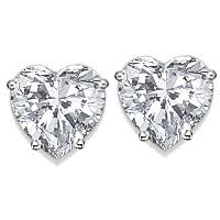 heart shaped diamond earrings heart cut cubic zirconia stud earrings in 14k these classic