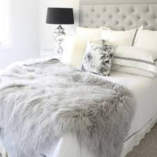 grey mongolian fur tibetan sheepskin double bed blanket and bed
