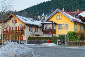 view of the typical alpine houses in garmisch partenkirchen stock