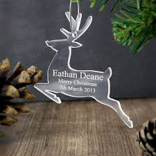 personalised christmas acrylic star hanging decoration in loving