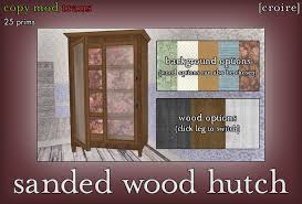 Hutch 3 Second Life Marketplace Croire Sanded Wood Hutch 3 Wood