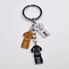 Poodle Car Key Chain Teddy Dog Key Ring Diy Pet Tag Keychains