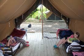 singing hills platform tent interior jpg