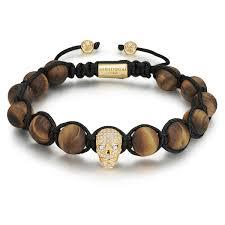 bracelet gold skull images Matte yellow tiger eye gold skull with cz diamonds infinity skull jpg
