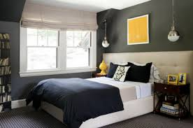 casual grey black and blue bedroom decoration using dark grey
