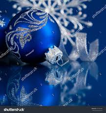 blue silver christmas ornaments on dark stock photo 221782984