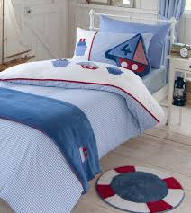 Childrens Cot Bed Duvet Sets Boys Bedding Bed Linen Gingham Boats Duvet Cover O Mr
