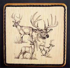 whitetail deer embroidery wood art wildlife wall decor nature art