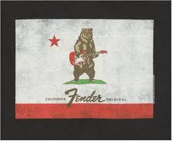 California Flag Bear Fender Fender Bear Flag T Shirt Black L