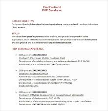 resume template in word php developer resume template 9 download free documents in pdf