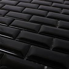 ceramic metro mosaic tiles black glossy tm33329