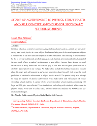 study of achievement in physics study habits and self concept