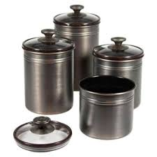 kitchen canisters set of 4 kamenstein brushed bronze canister set by kamenstein 30 28 seal