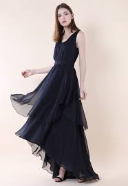 ethereal waterfall chiffon maxi dress in black retro indie and