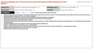 Cnc Operator Resume Sample by Deburring And Tooling Machine Operator Job Title Docs