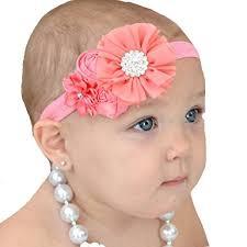 newborn bows miugle baby coral headband baby girl flower headband