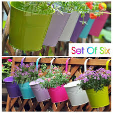 Home Decoration Uk 6x Metal Iron Hanging Flower Pot Plant Planter For Balcony Garden