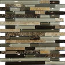 SampleMarble Stone Green Brown White Glass Linear Mosaic Tile - Linear tile backsplash