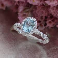 aquamarine wedding rings floral aquamarine engagement ring in 14k white gold pebble