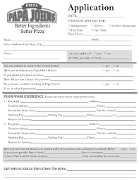 papa johns pizza career fill online printable fillable blank