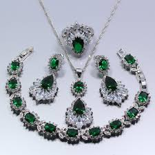 sterling silver rings necklace images 925 sterling silver green created emerald austria crystal women jpg