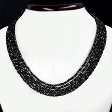 black gem necklace images Flawless 177 00 cts natural 5 line earth mined black spinel jpg